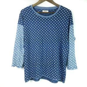 Madewell Shirt Indigo Ink Tee Polka Dot Blue White